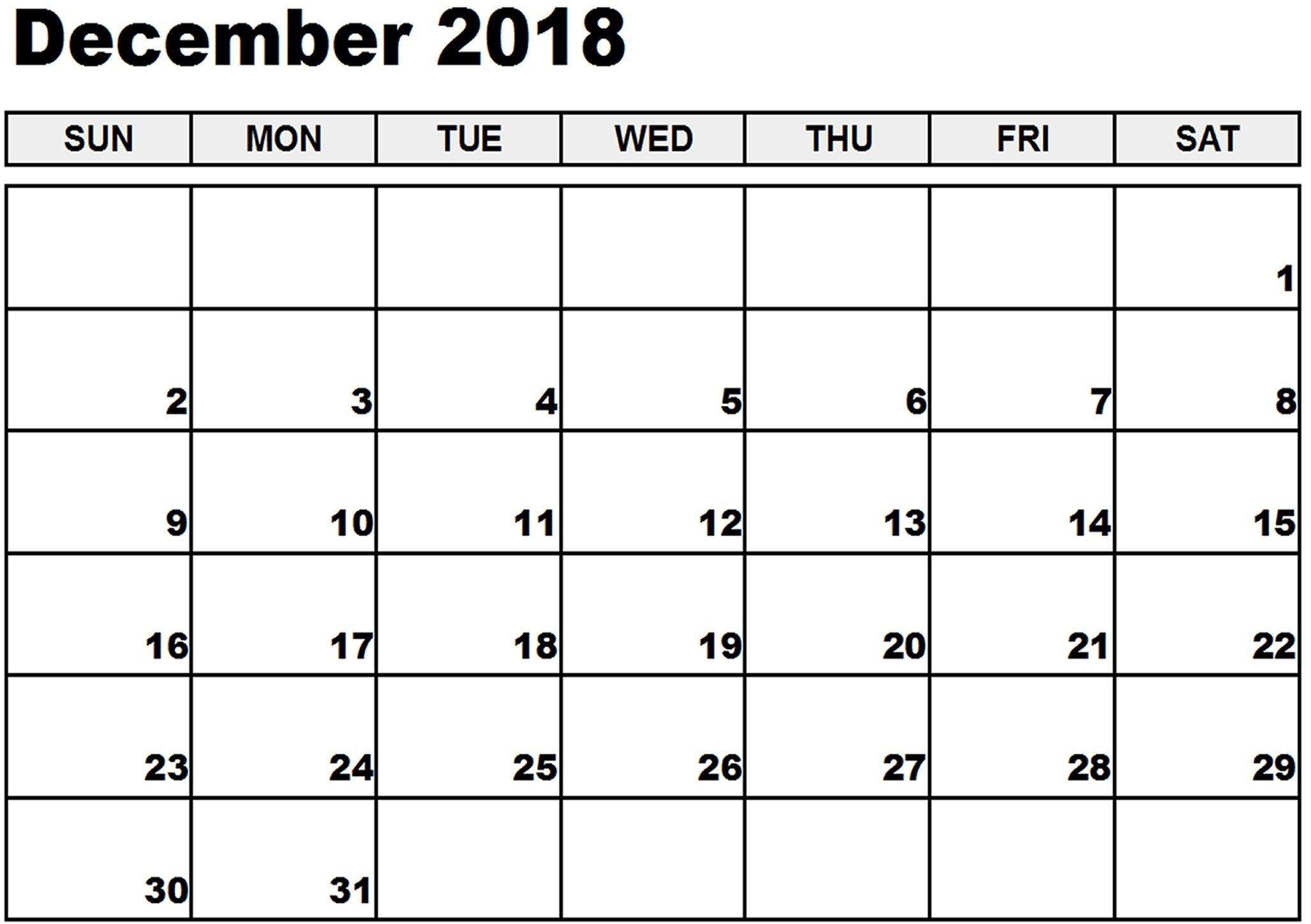 December 2018 Calendar Canada