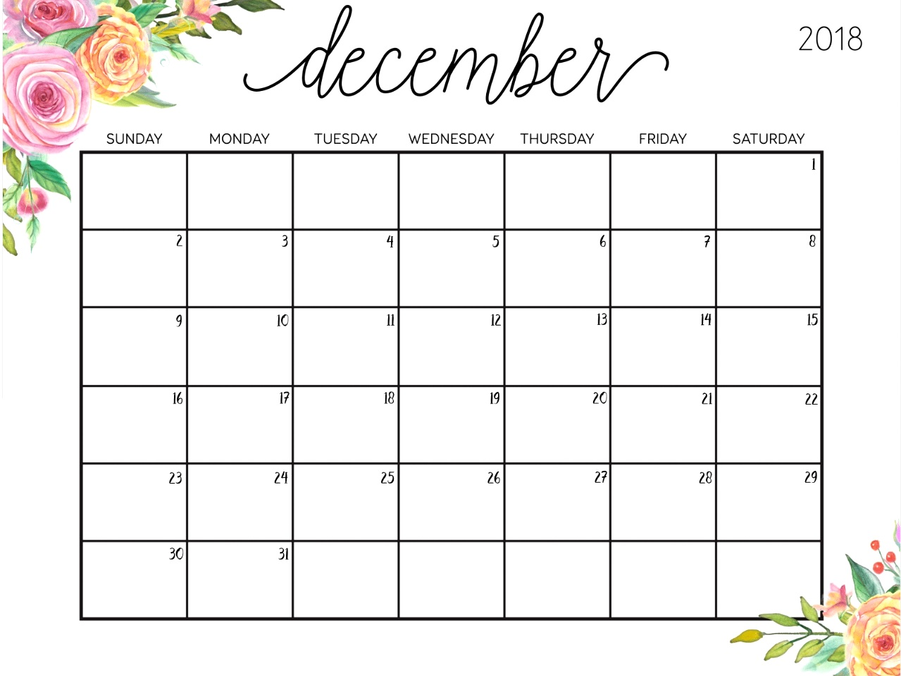 December 2018 Calendar Cute Printable