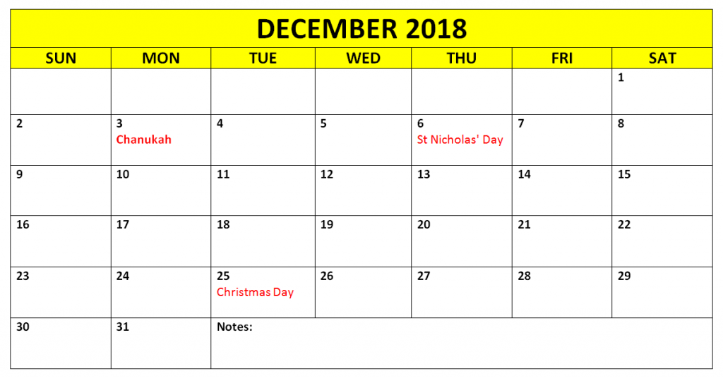 December 2018 Calendar Editable with Holidays