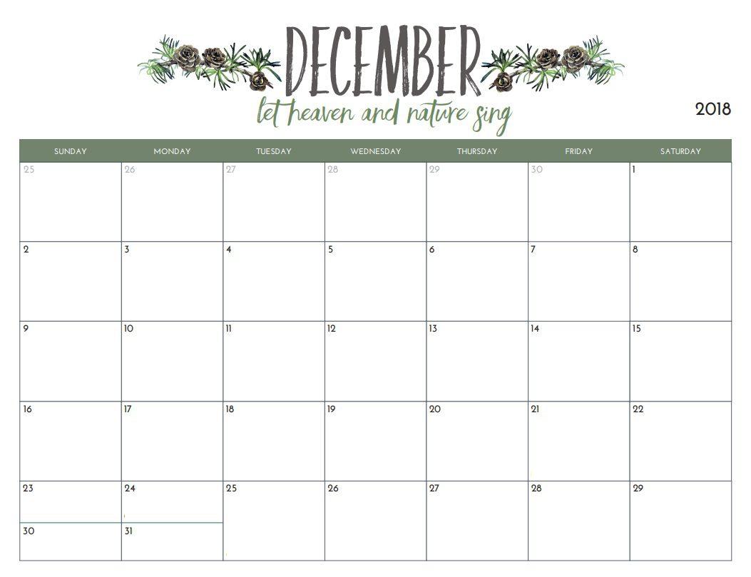 December 2018 Calendar Editable