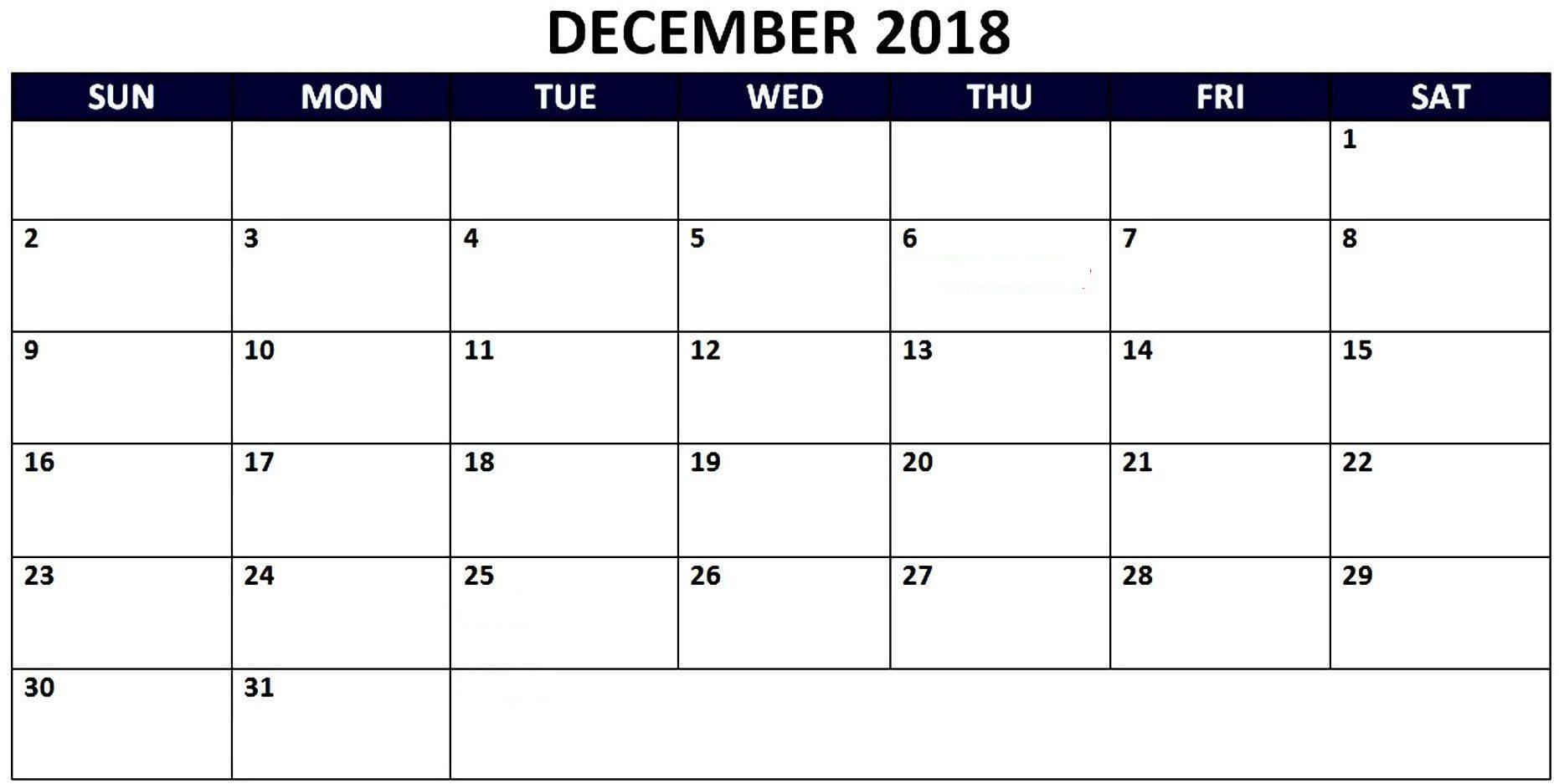 December 2018 Calendar For Australia