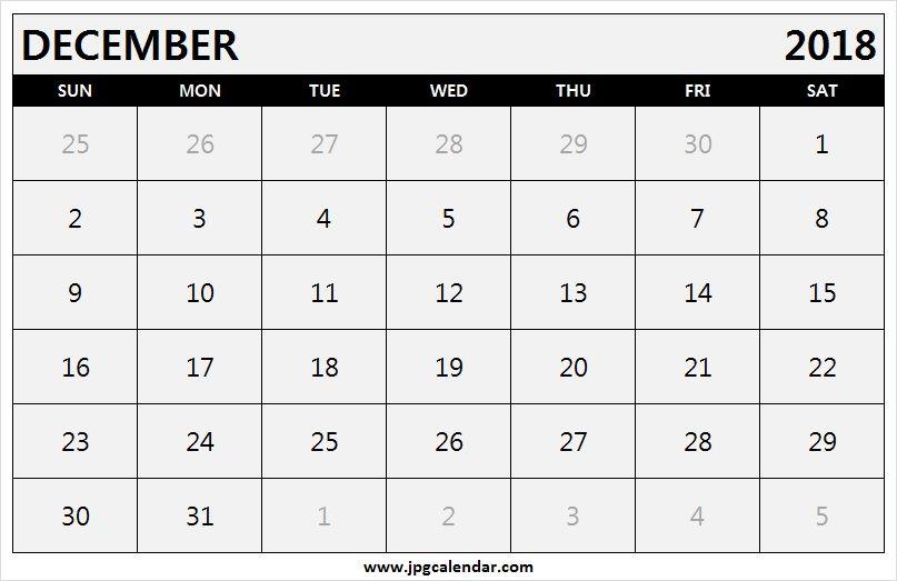 December 2018 Calendar Landscape