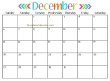 December 2018 Calendar Pink Printable