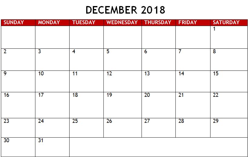 December 2018 Calendar Pink
