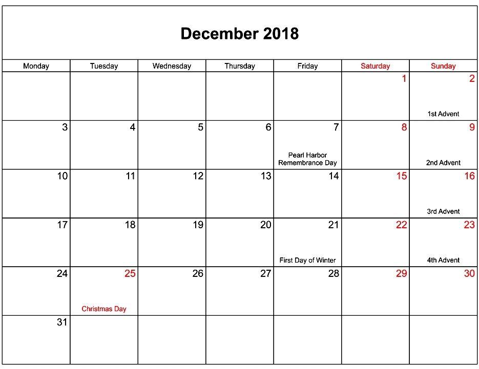 December 2018 Calendar Singapore Holidays