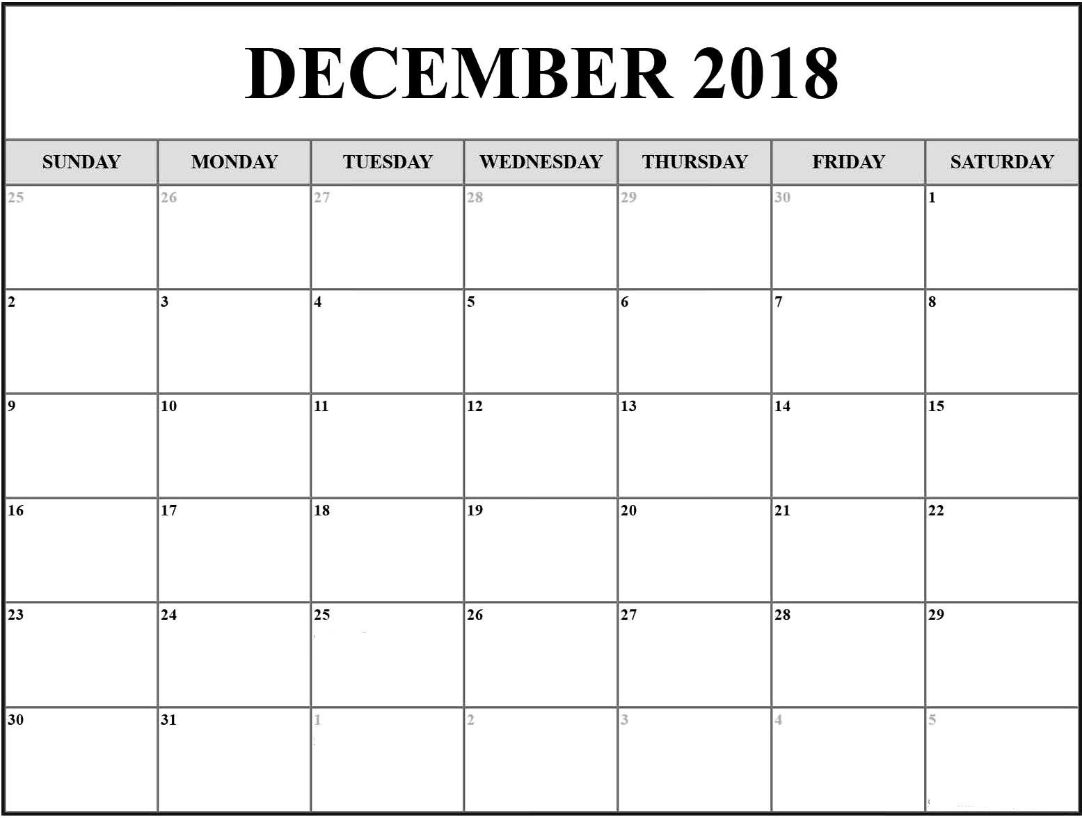 December 2018 Calendar Singapore Printable