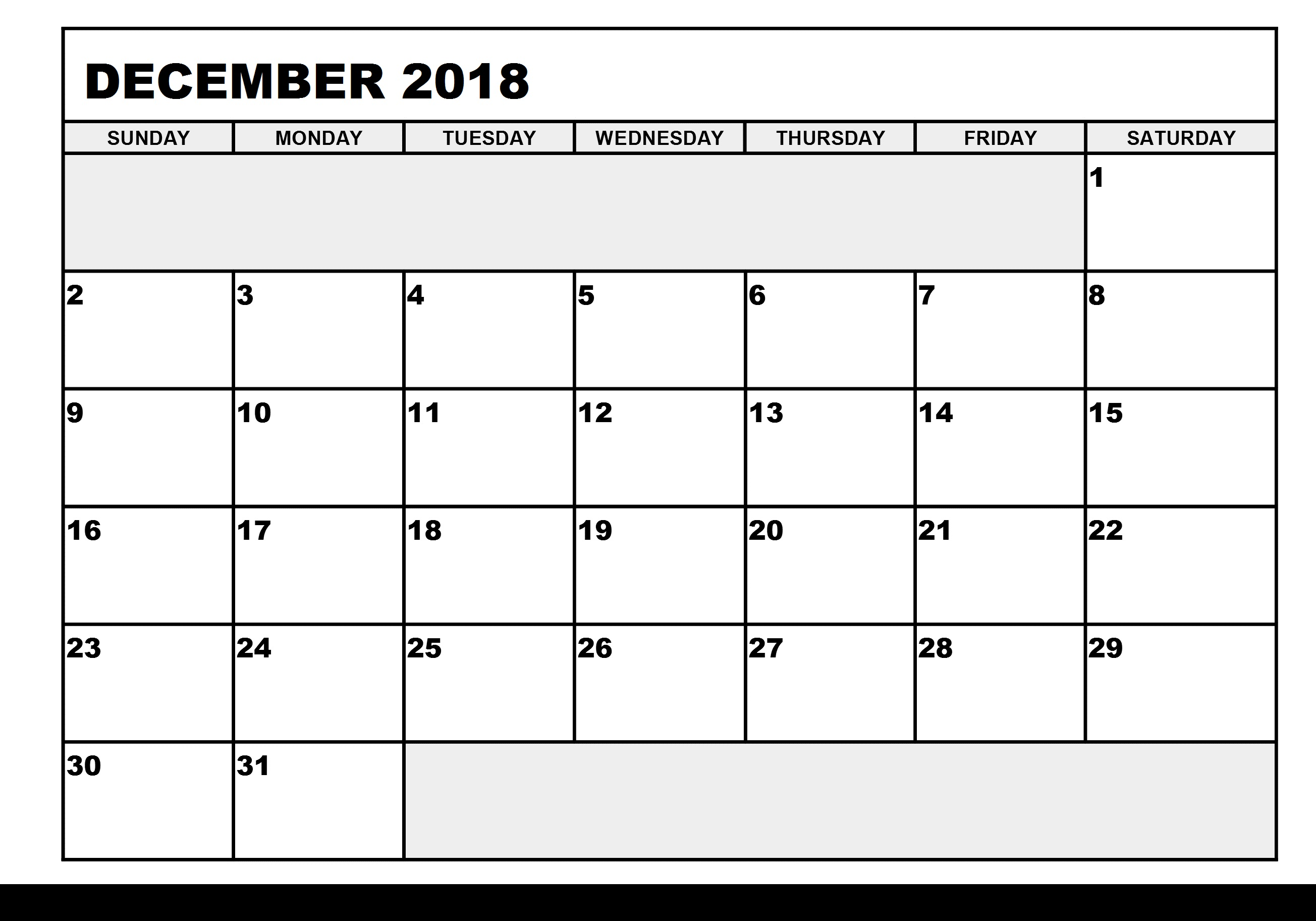 December 2018 Calendar Singapore