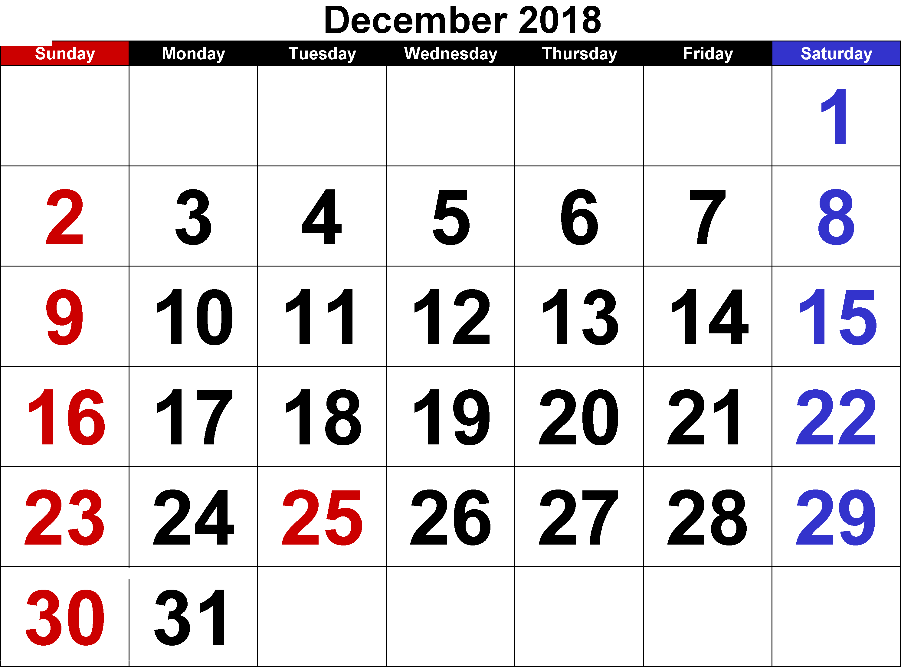 December 2018 Calendar South Africa Printable