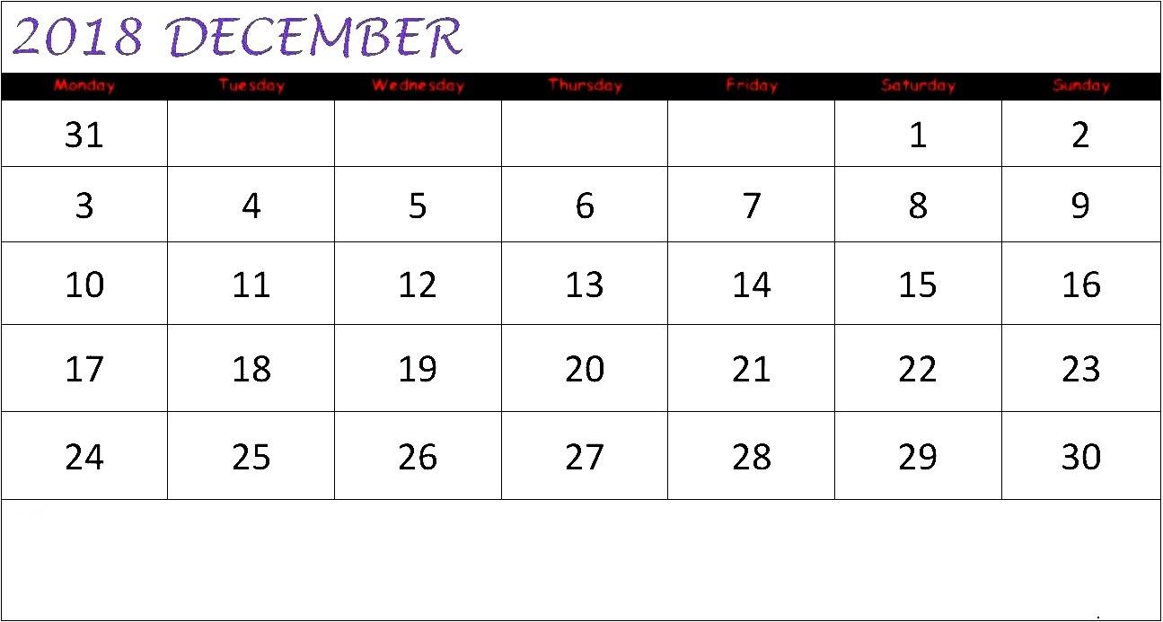 December 2018 Calendar South Africa Template
