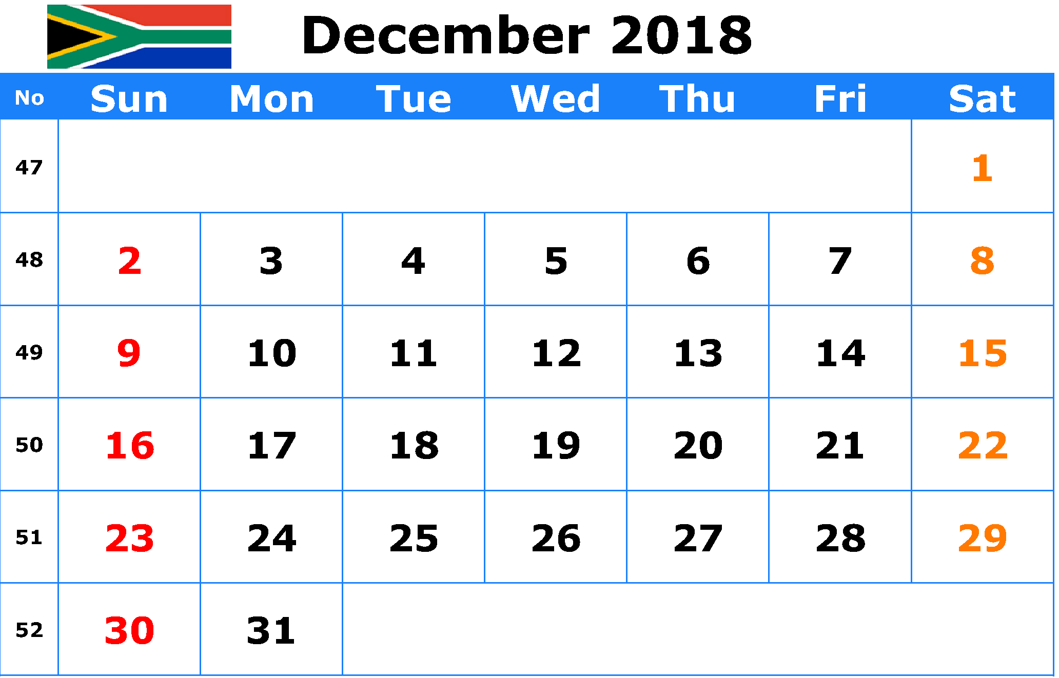 December 2018 Calendar South Africa With Holidays
