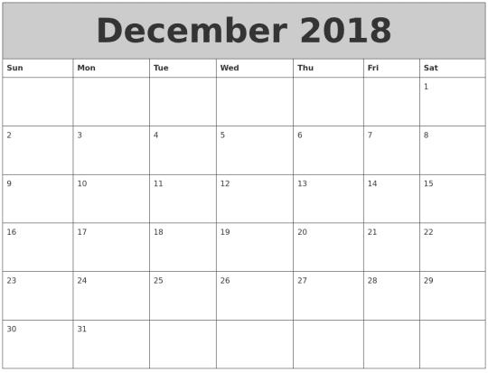 December 2018 Calendar Tumblr