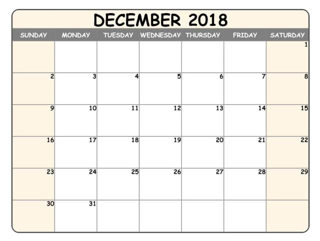December 2018 Calendar UK National Holidays