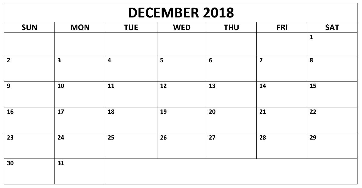 December 2018 Calendar UK Printable