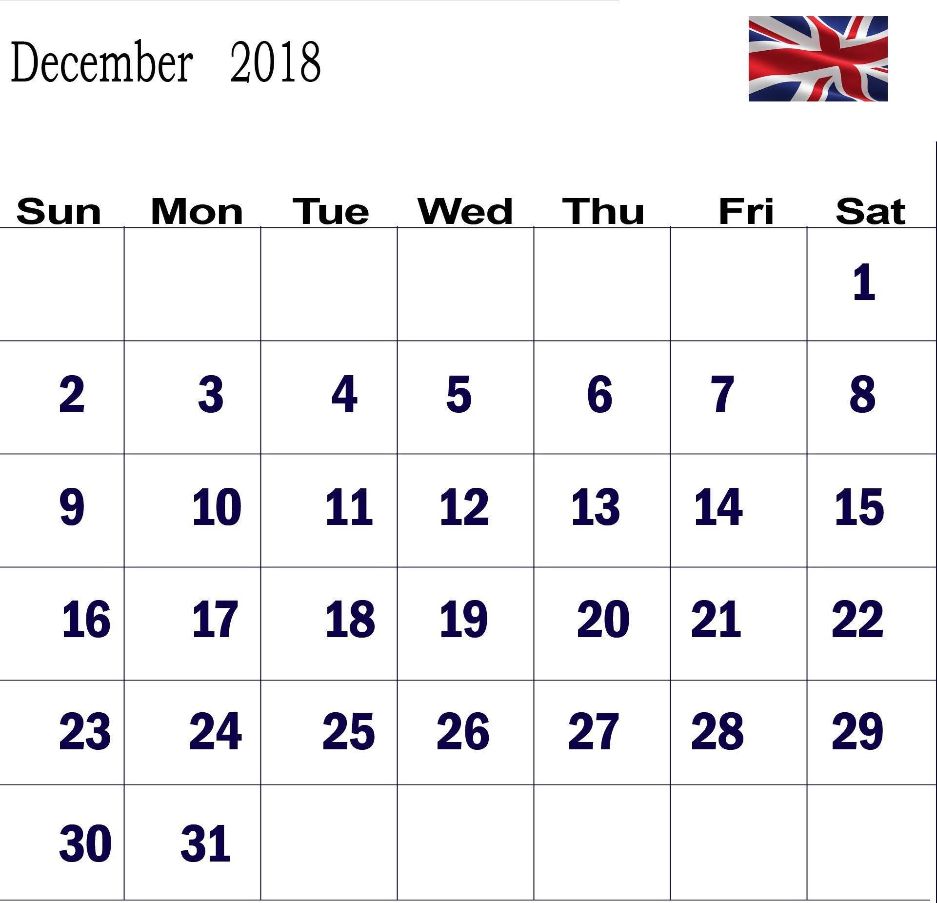 December 2018 Calendar UK With Holidays