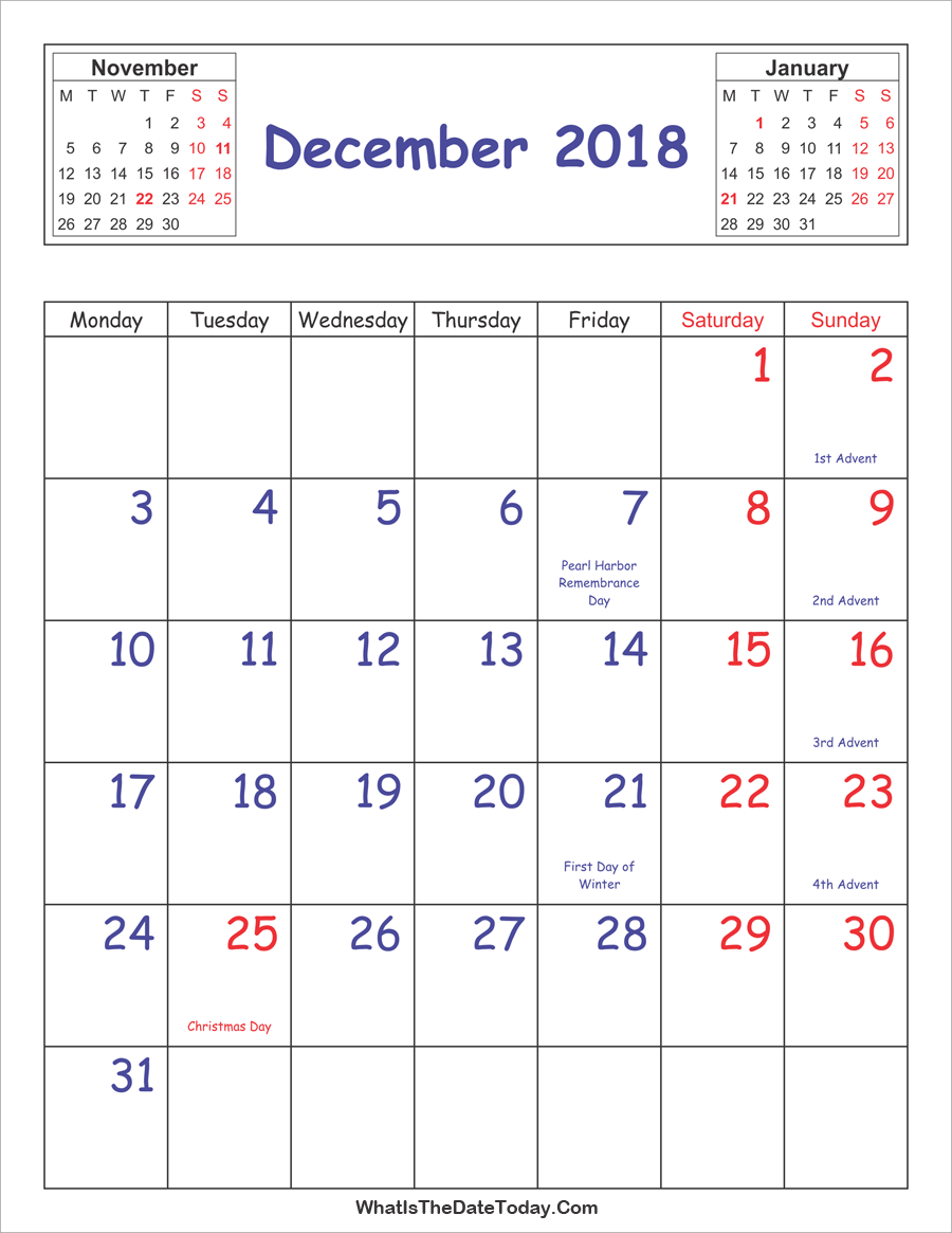 December 2018 Calendar Vertical with Holidays