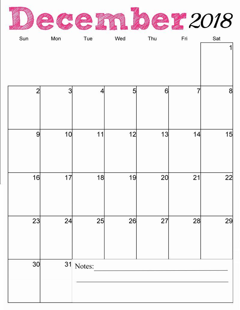 December 2018 Calendar Vertical