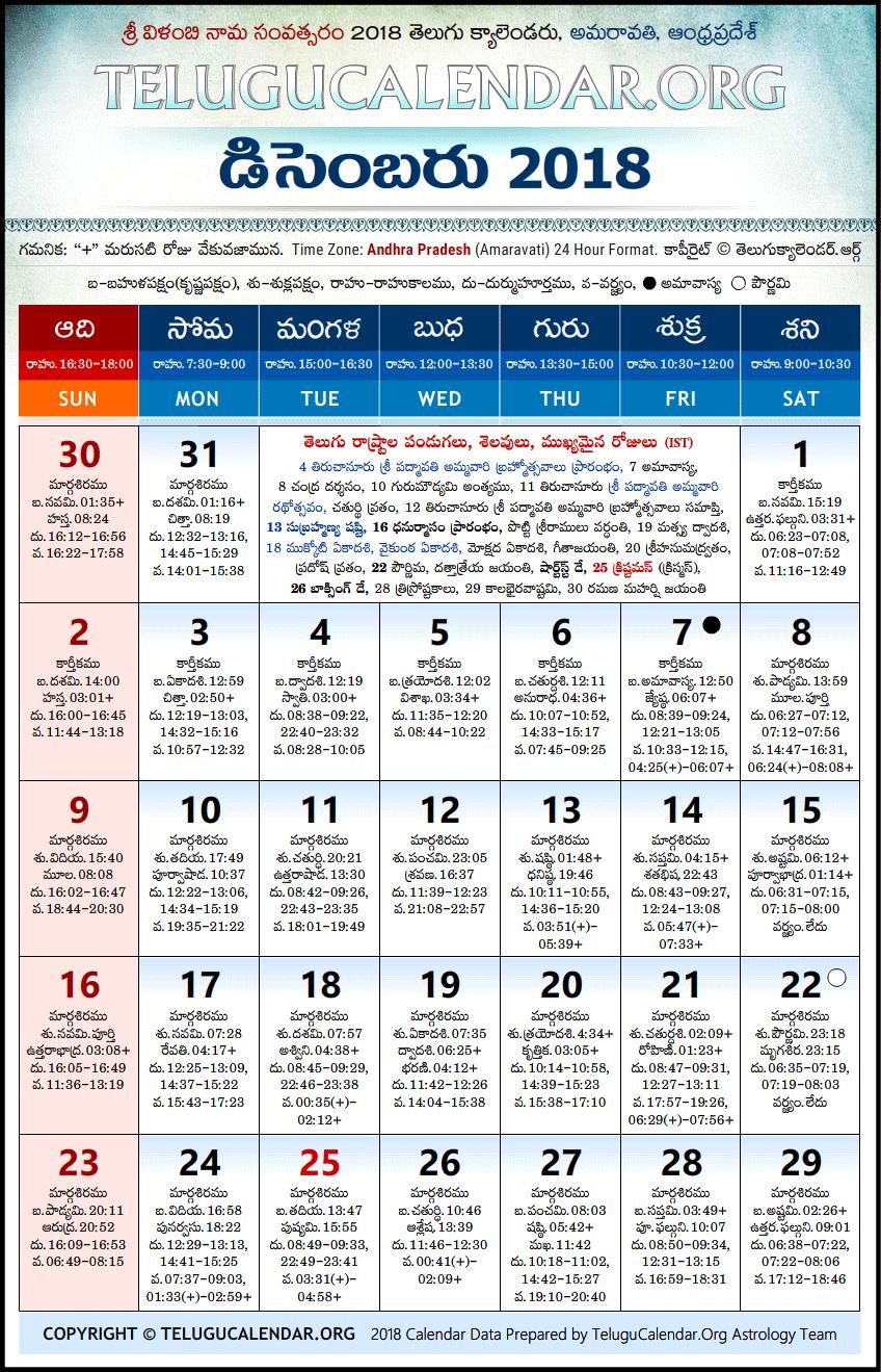 December 2018 Telugu Calendar