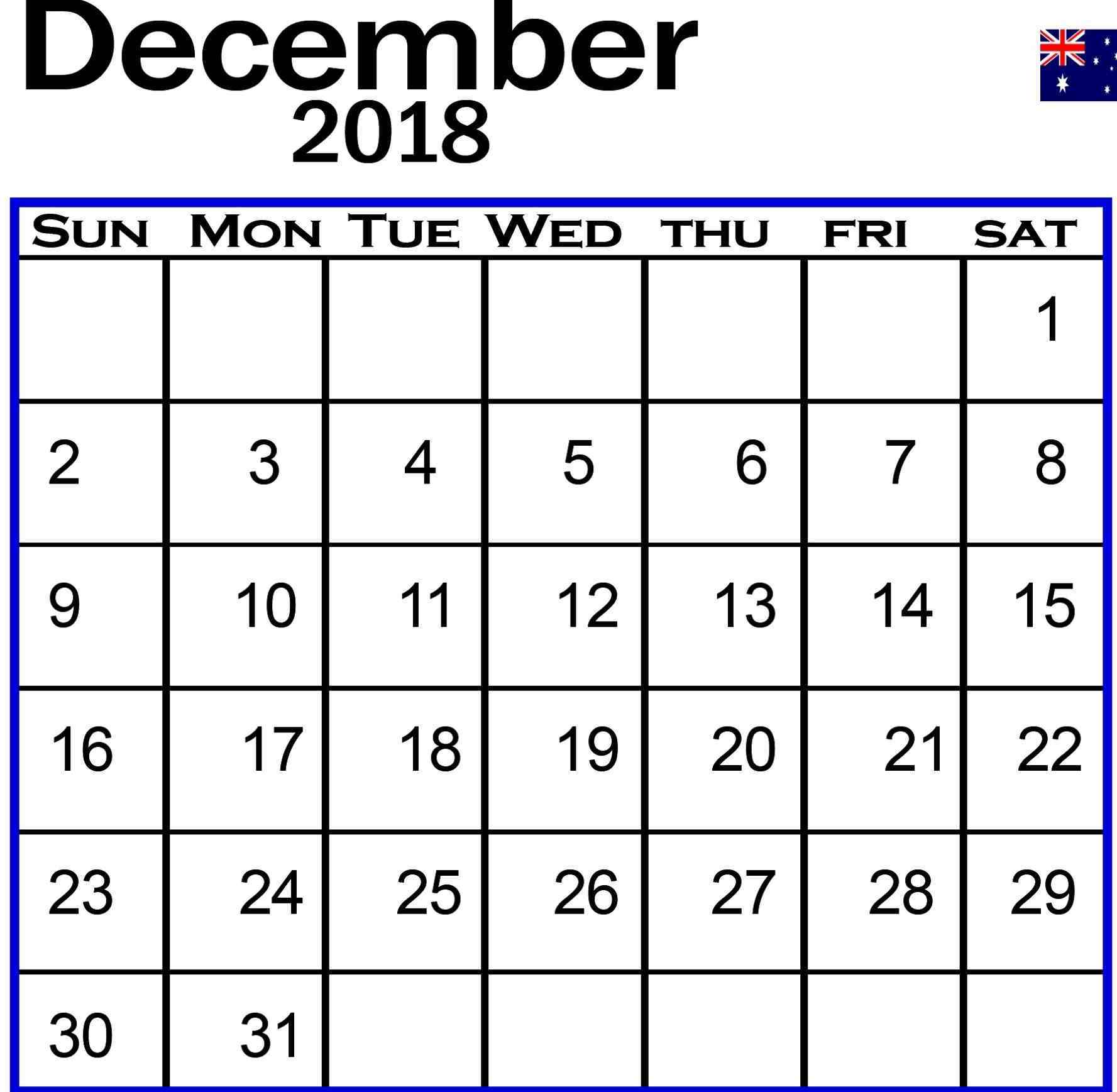 December Australia Calendar 2018