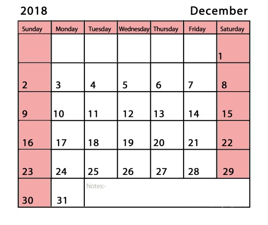 December Calendar 2018 Canada