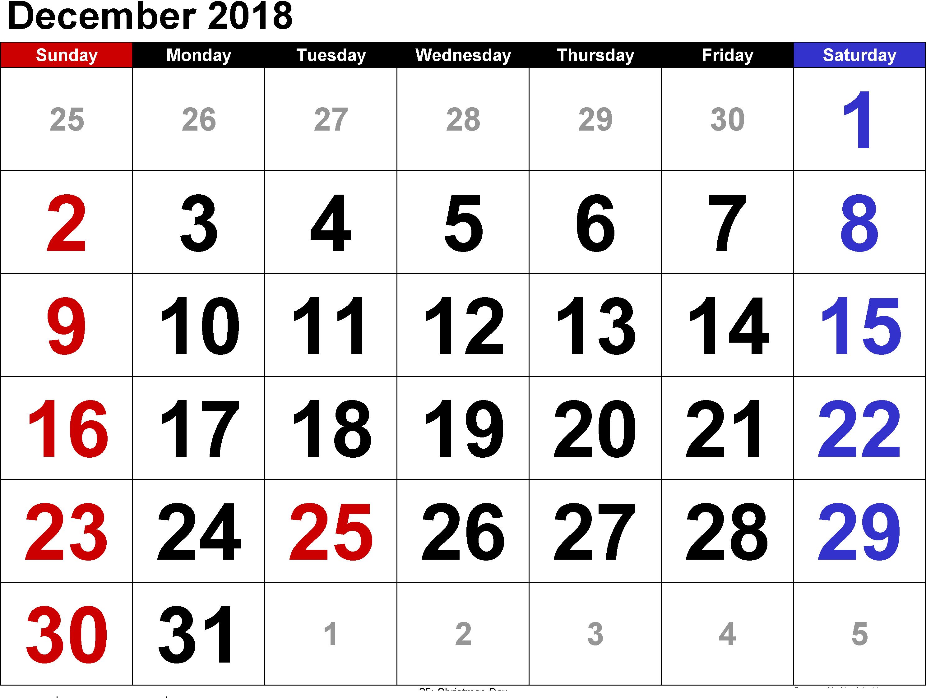 December Calendar 2018 Landscape