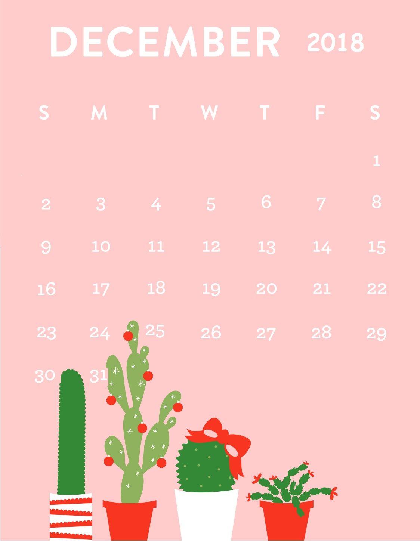 December Calendar 2018 Pink