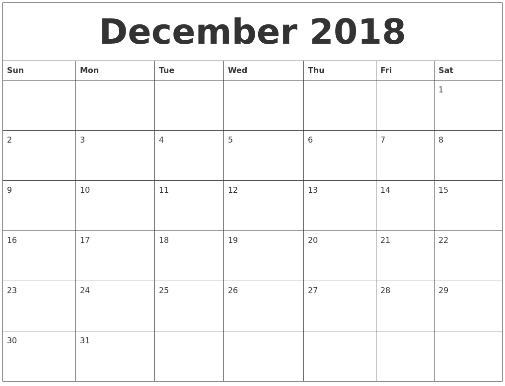 December Calendar 2018 Printable Template