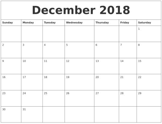 December Calendar 2018 Tumblr