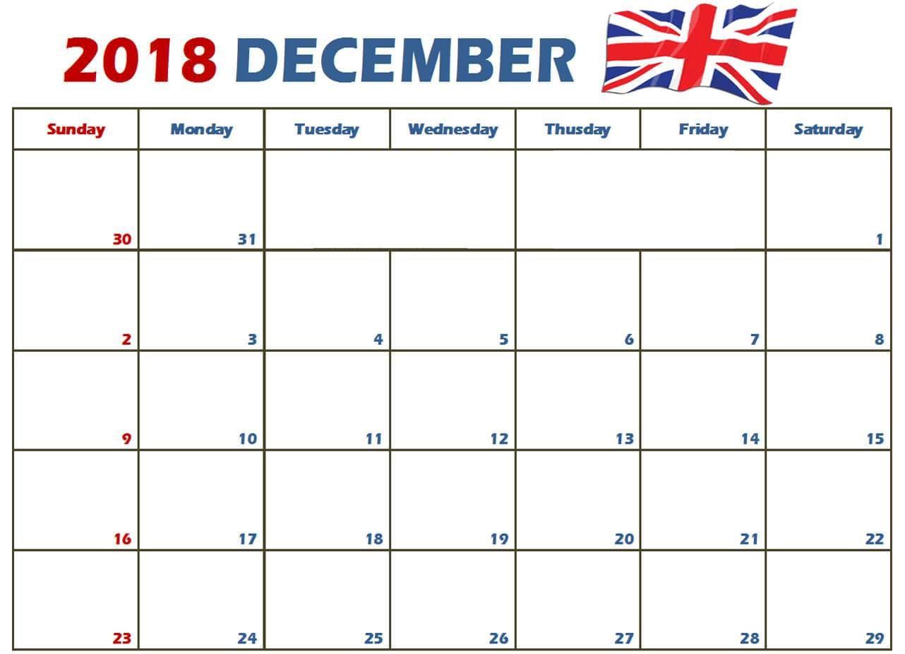 December Calendar 2018 UK