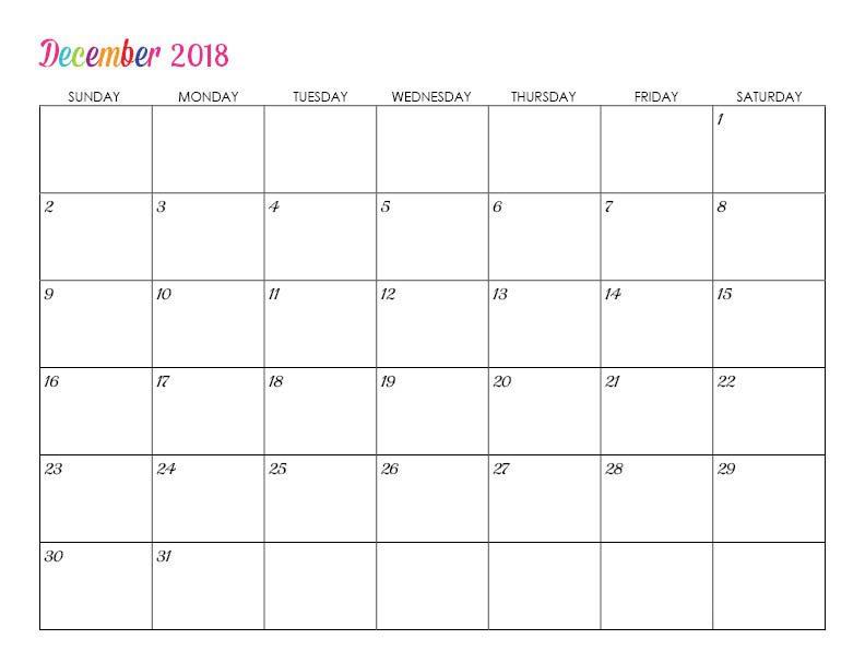 Editable December 2018 Calendar