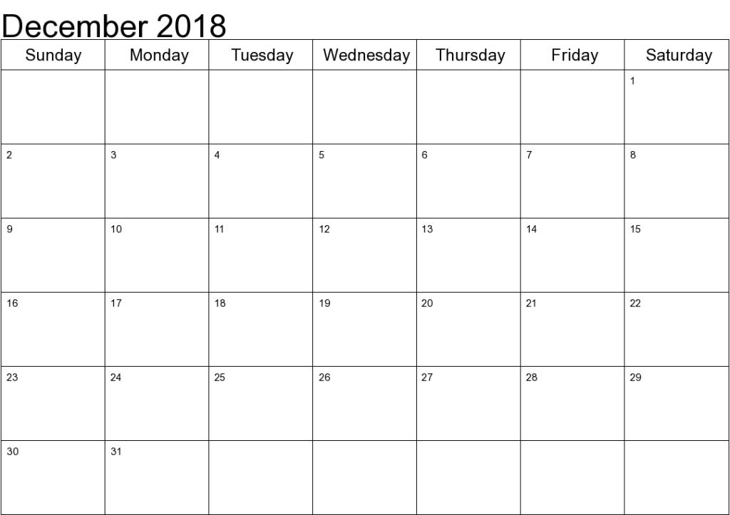 Free December 2018 Calendar Australia