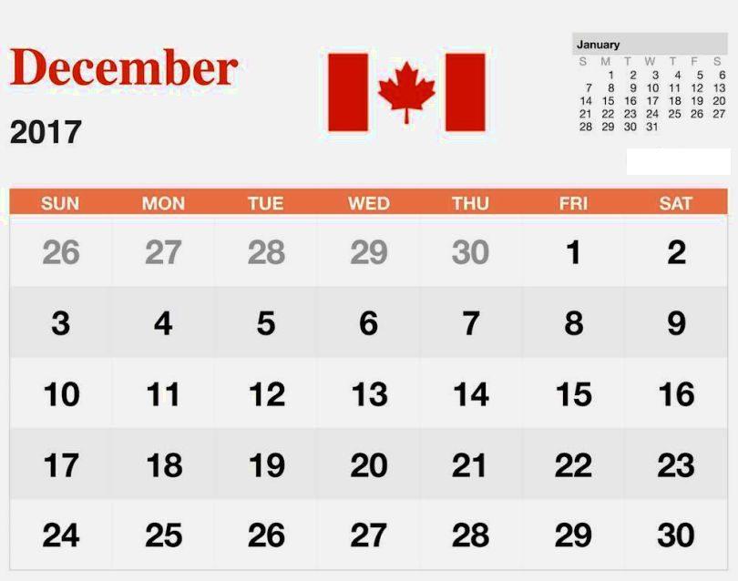 Free December 2018 Calendar Canada