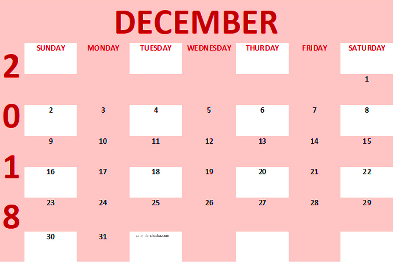Free December 2018 Calendar Pink