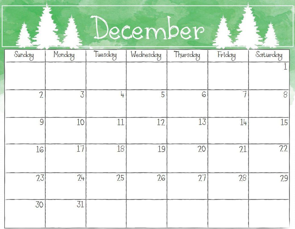 Online December 2018 Calendar Landscape
