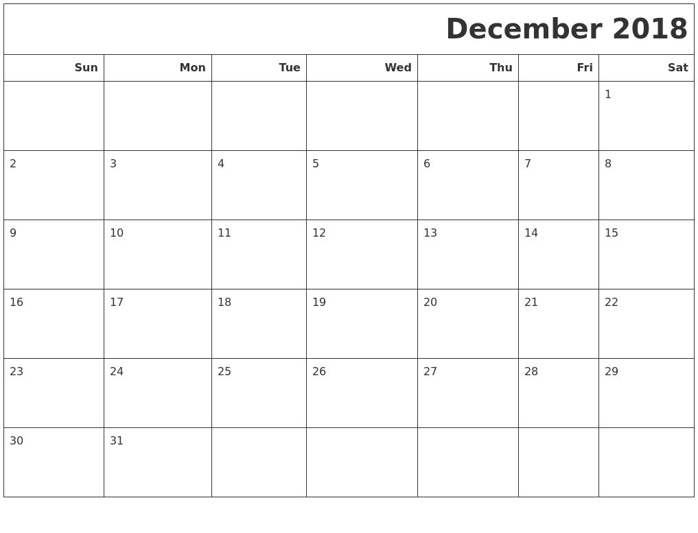 Online Print December 2018 Calendar