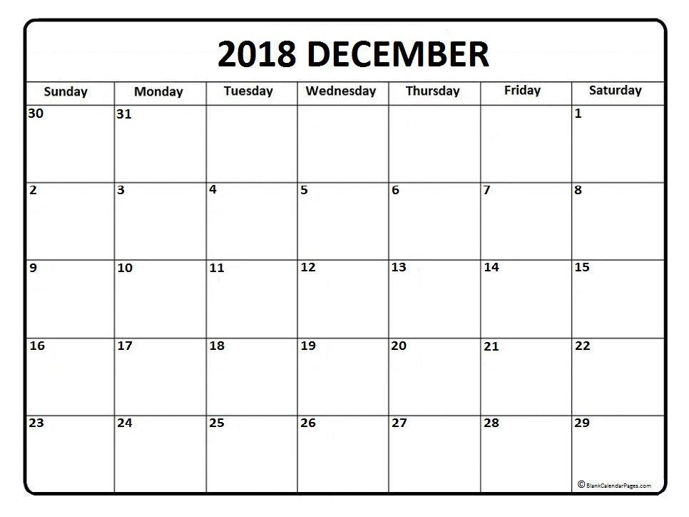Print Calendar December 2018