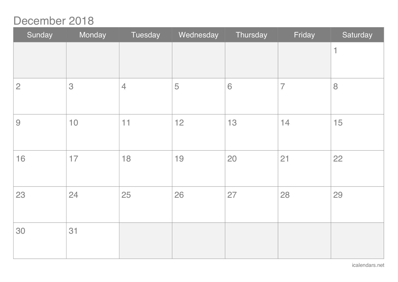 Print December 2018 Blank Calendar
