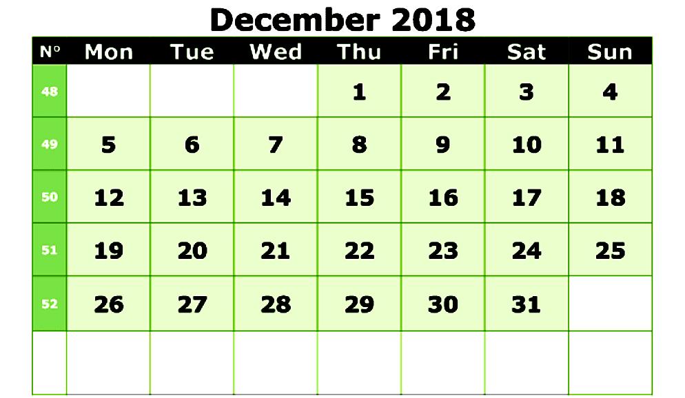Print December 2018 Calendar Australia