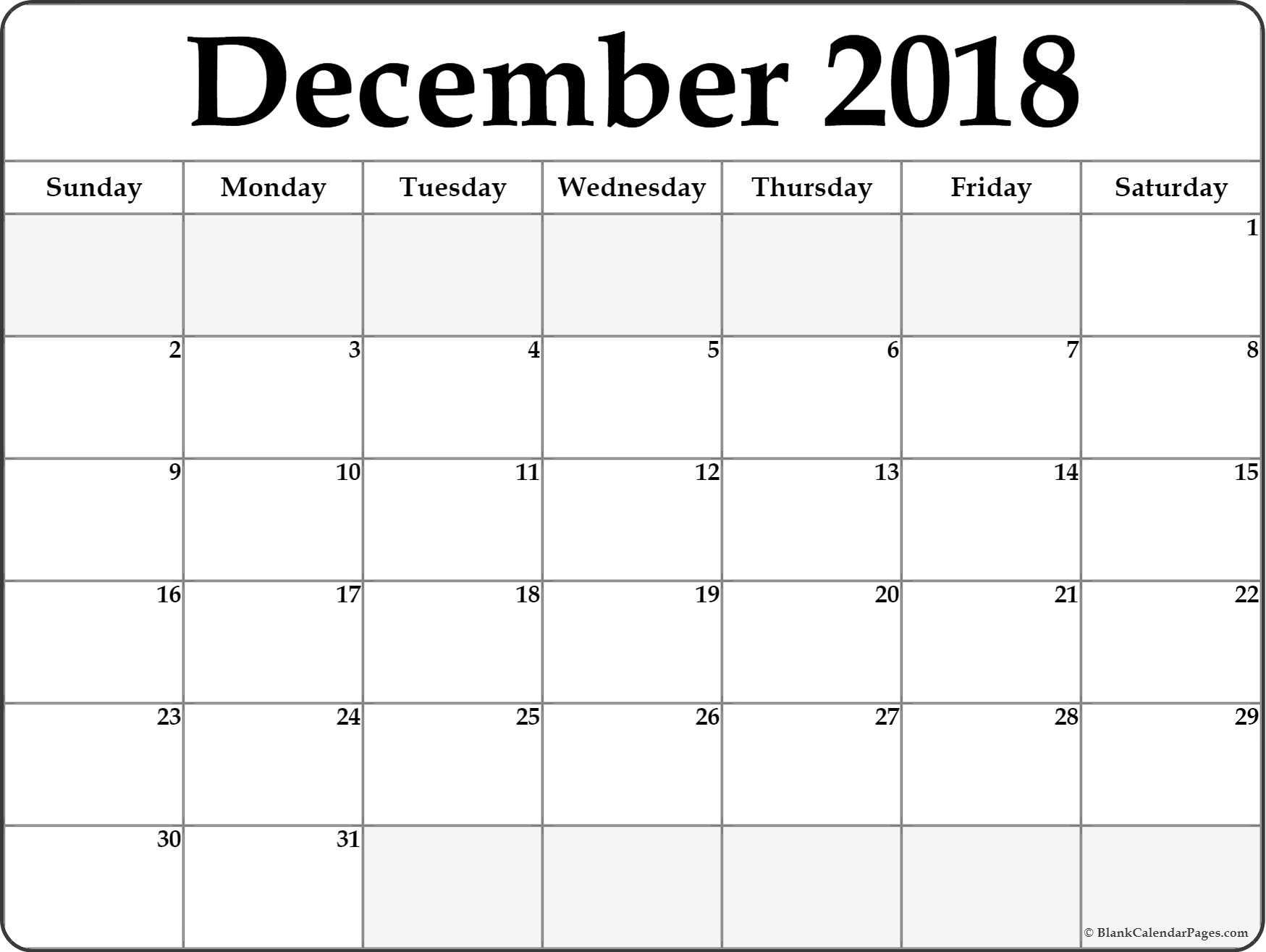 Print December 2018 Calendar Document