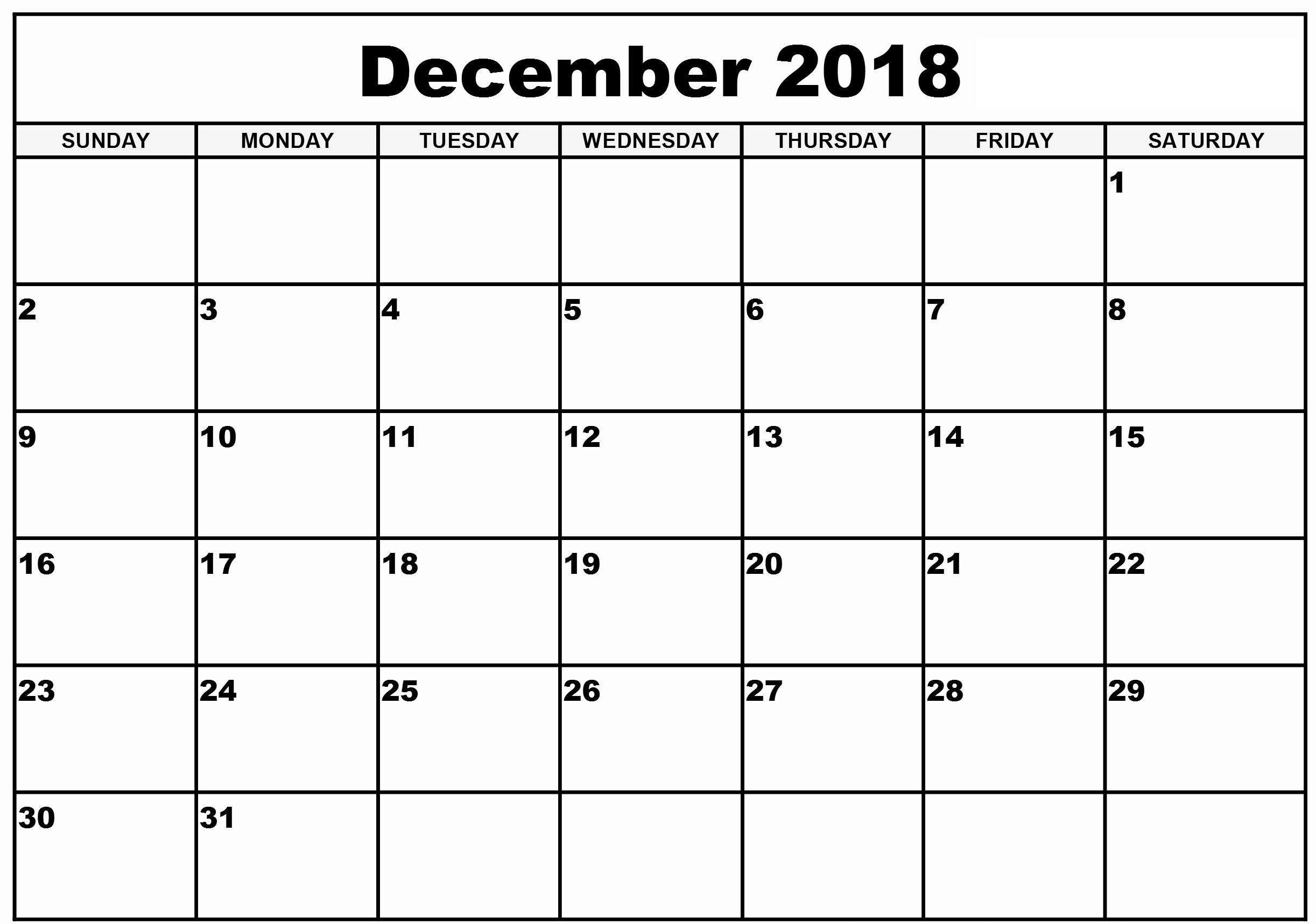 Print December 2018 Calendar NZ