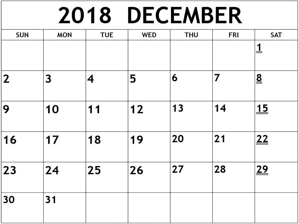 Print December 2018 Calendar