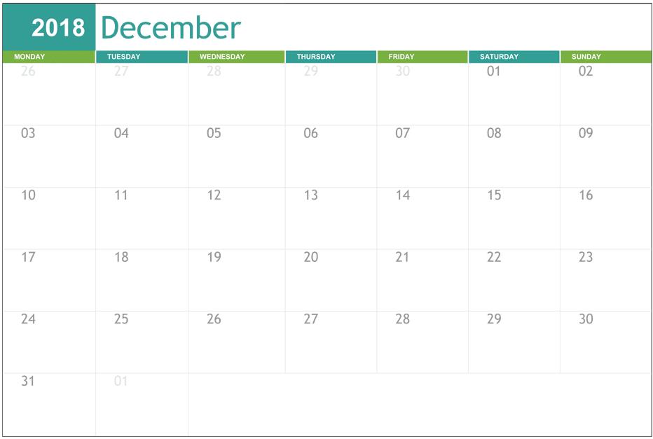 Printable December 2018 Calendar Editable