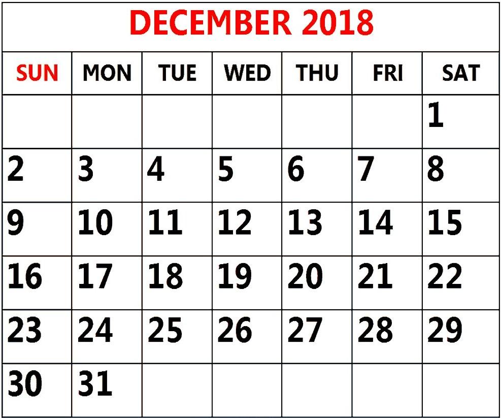 Printable December 2018 Calendar South Africa