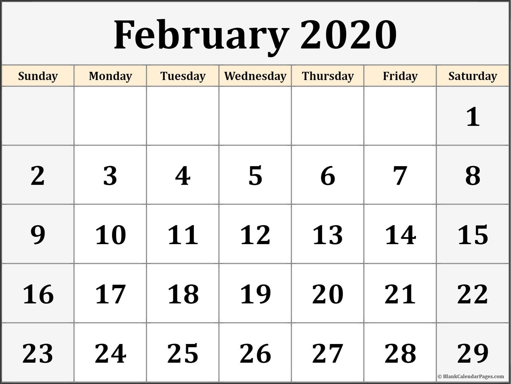 2019 February Calendar with Holidays