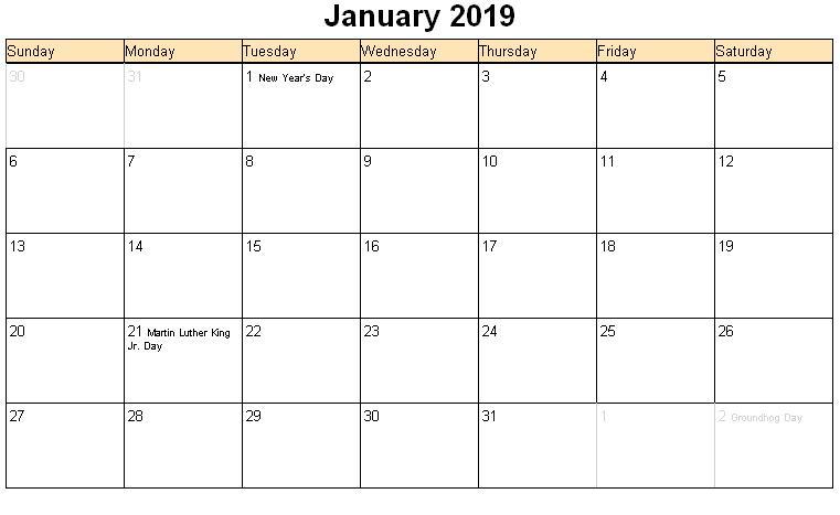 2019 January 2019 Calendar PDF