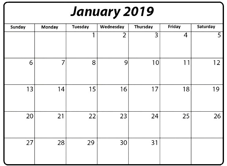 2019 January Calendar UK