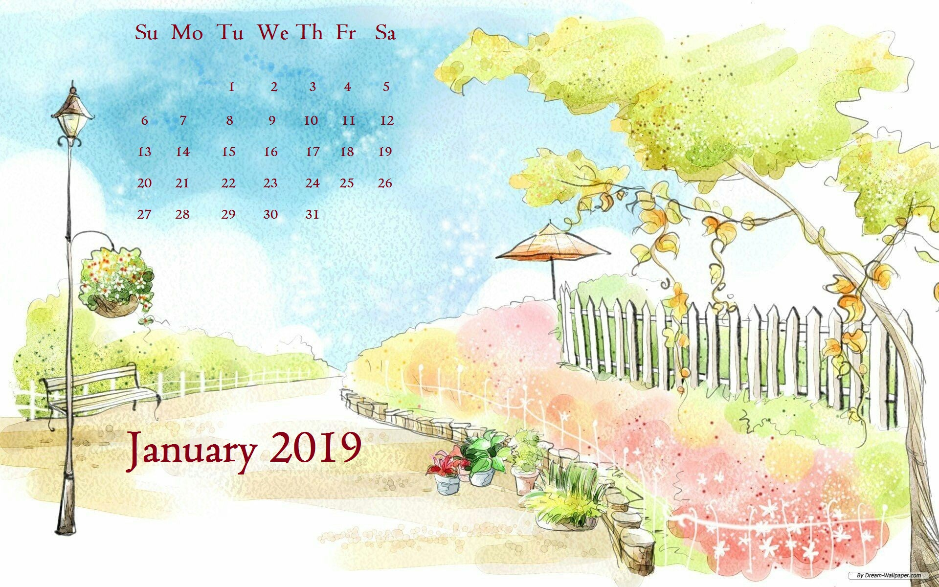 Beautiful Scenery January 2019 Desktop Calendar