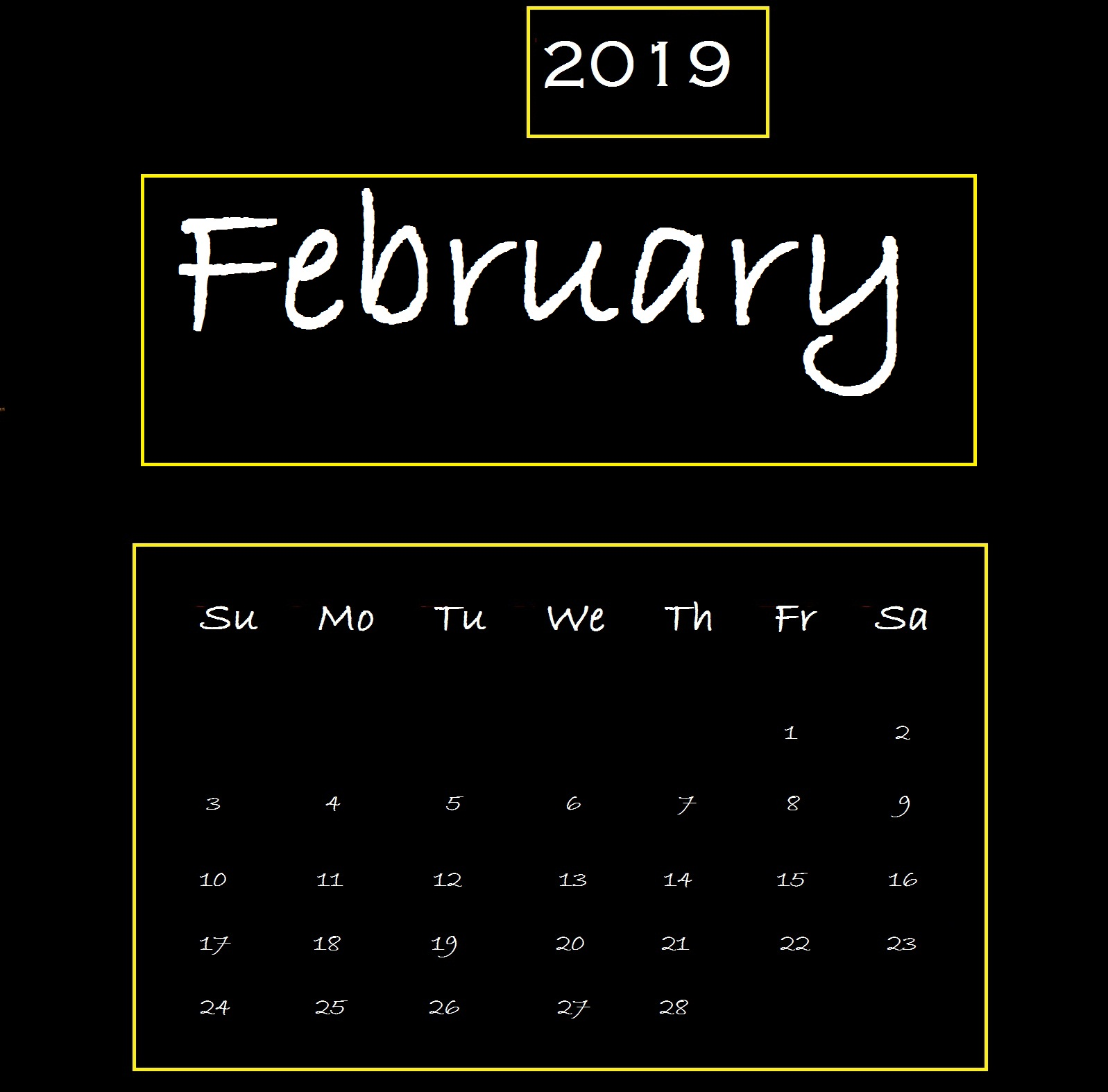 Black Background February 2019 Desktop Calendar