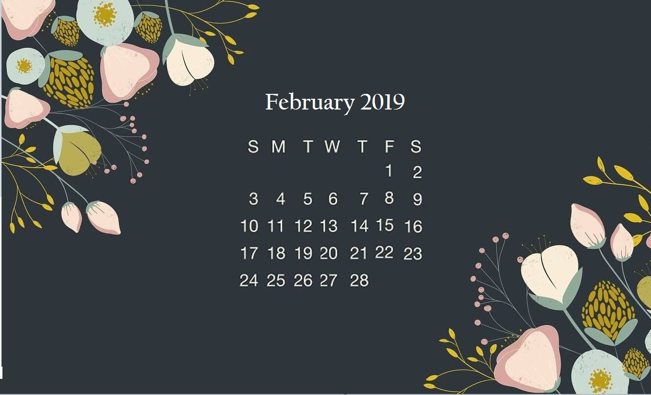 Black Floral February 2019 Desktop Calendar Wallpaper