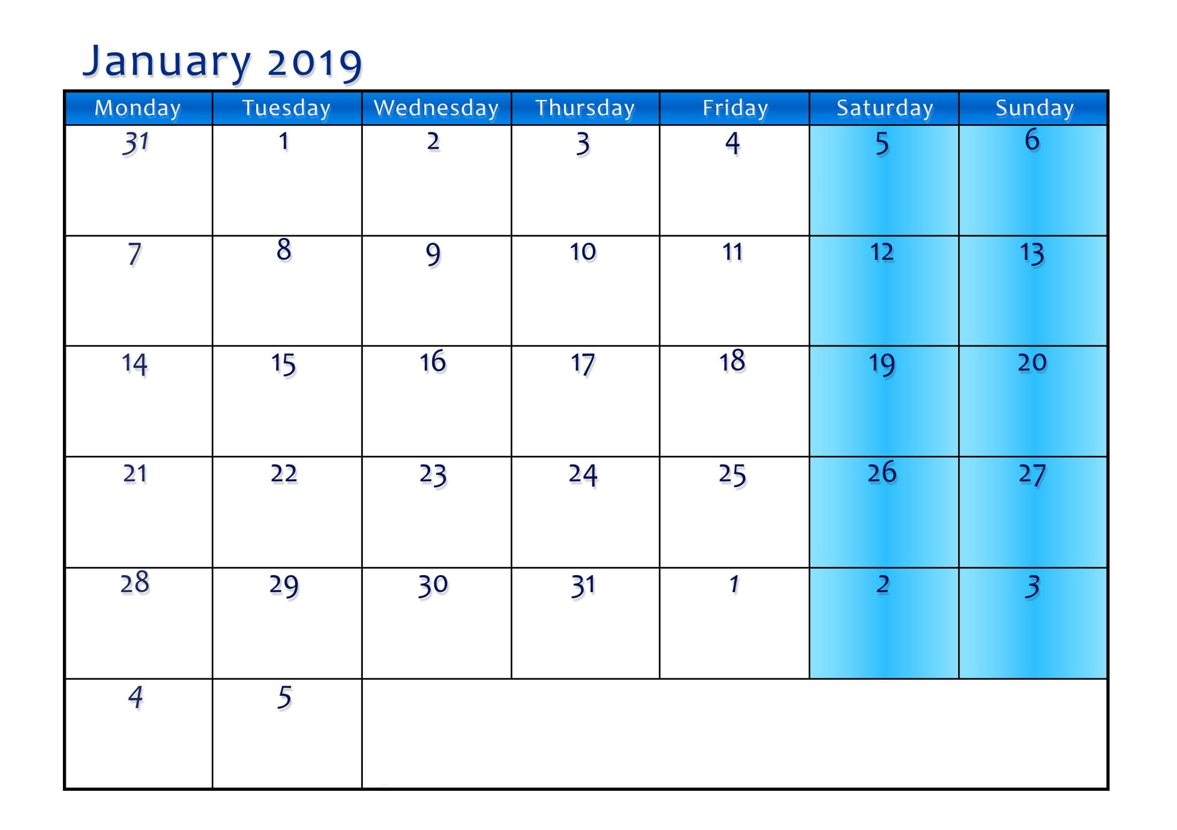 Blank Calendar Pages January 2019