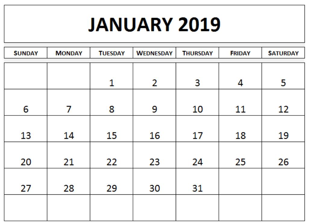 Blank January 2019 Calendar Excel